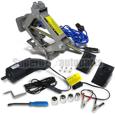 2 Ton 12V Dc Electric Scissor Jack W/ Automatic Impact Wrench For Car