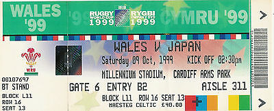 WALES v JAPAN RUGBY WORLD CUP 1999 TICKET
