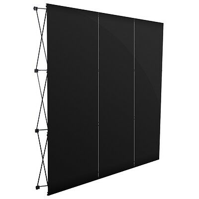 Sturdy Foldable Exhibition Display Stand 3 Sections Black PVC Rec-Used Magnet