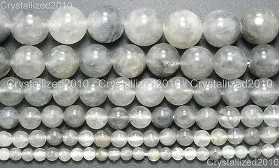 Natural Grey Cloudy Quartz Gemstone Round Beads 4mm 6mm 8mm 10mm 12mm 15.5""