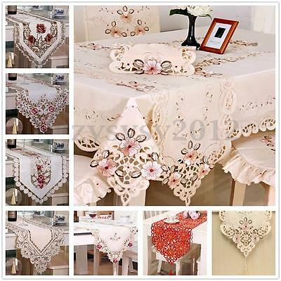 Rectangle Flower Table Runner Mat Tablecloth Tassel Wedding Birthday Party Decor