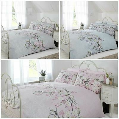 Eloise Oriental Japanese Blossom Duvet Cover Floral Design Grey Pink or Duck Egg