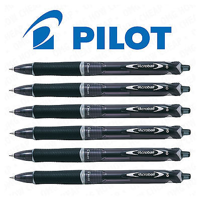 6 x Pilot Acroball Retractable Ballpoint Pen Medium 1.0mm Black Ink