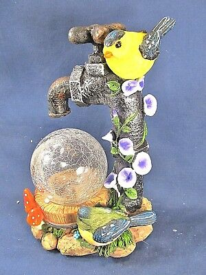 Yellow Bird on a Water Faucet w/ glass globe and LED light yard or patio decor