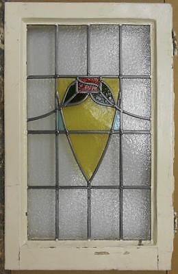 "MID SIZED OLD ENGLISH LEADED STAINED GLASS WINDOW Gorgeous Abstract 17.75"" x 28"""