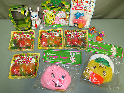 Vintage EASTER Hong Kong LOT Friction Toys Inflatable Wind Up Purse Eggs n' Toys