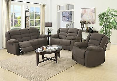 3 pc sofa set with sofa loveseat and chair cad for Fabric reclining living room sets