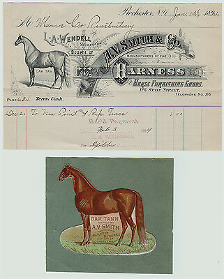 SUPER -Advertising Billhead & Diecut - Smith Horse Harness  1894  Rochester NY