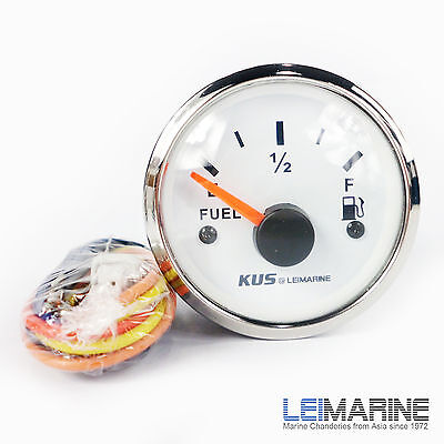 KUS Boat Marine Analog Fuel Tank Level Gauge Indicator Dia 52mm Stainless Steel