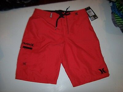 Hurley swimsuit boys youth board shorts swim trunks bright red 10