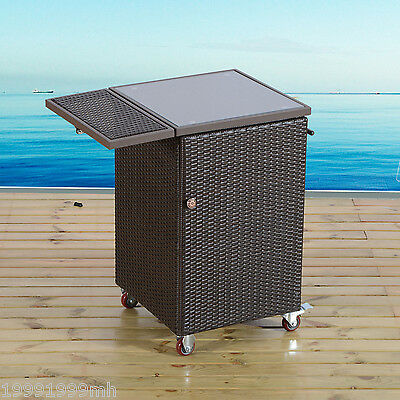 Outsunny Portable Rattan Cart Trolley Kitchen Dinning Storage Holder Stand