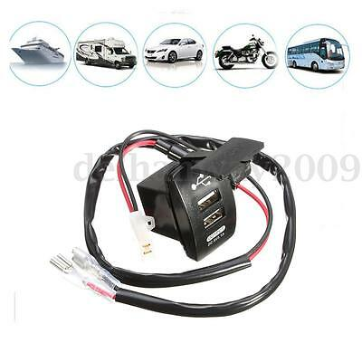 12V Dual USB Car Charger Cigarette Lighter Socket Adapter Auto Motor With Wire