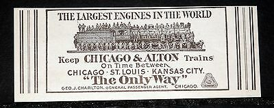 1908 Old Magazine Print Ad, Chicago & Alton Trains, Largest Engine In The World!