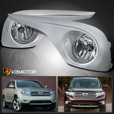 For 2011-2013 Toyota Highlander Clear Lens Bumper Driving Fog Light+Bulbs+Switch