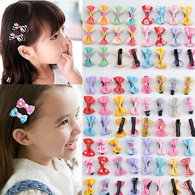 12Pcs Hot Lovely Toddler Girl Hair Clip Ribbon Bow Baby Kids Bowknot Headband