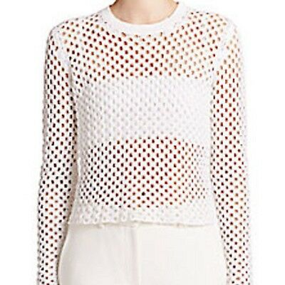 2a7f16f013 $345 Theory Krezia Open-Work Knit Pullover Sweater Top Sheer White.SZ:M