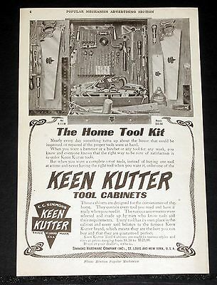 1908 Old Magazine Print Ad, Ec Simmons Keen Kutter Tool Cabinets, Home Tool Kit!