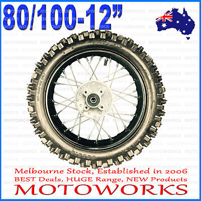 "80/100 - 12"" Inch Rear Back Wheel Rim + Tyre Tire + Tube Dirt Pit PRO Trail Bike"