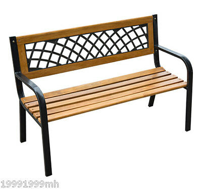 Outsunny Garden Bench Patio Chair Cast Iron Wood Resin Inset Back Outdoor Yard