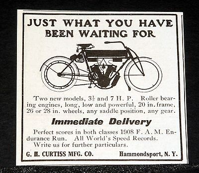 1908 Old Magazine Print Ad, Curtiss Motorcycle, Just What You Have Waited For!