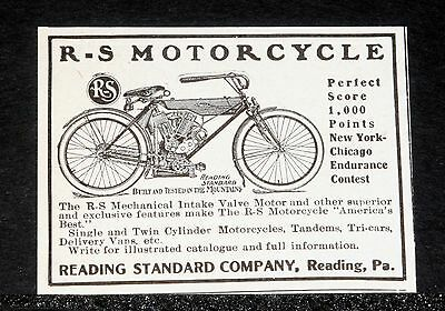 1908 Old Magazine Print Ad, Reading Standard, R-S Motorcycle, A Perfect Score!