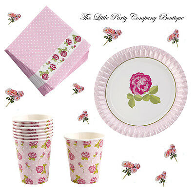 Vintage Style Rose Bundle Afternoon Tea Party Wedding Shabby Chic Plates Napkins