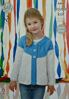 KNITTING PATTERN Girls Round Neck LongSleeve Lace Yoke Cardigan DK KingCole 4446