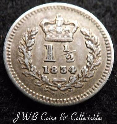 1834 William IV Silver Threehalfpence Coin Nice Condition