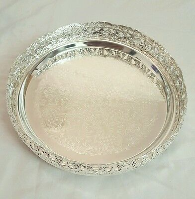 Silver Plated Round Gallery Tray Plate Paandan