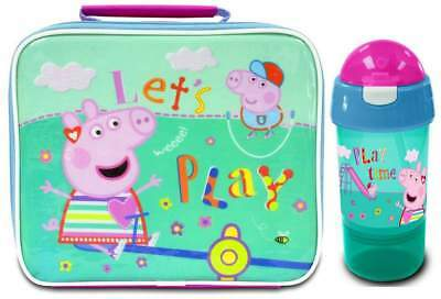 Peppa Pig 'Let's Play' Lunch Bag/Box and Sip 'n' Snack Bottle | Peppa Lunchbox
