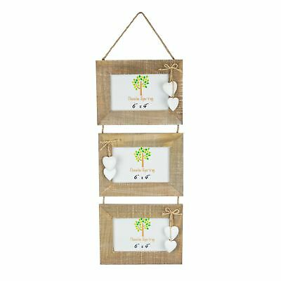 """Wooden Shabby Chic Rustic Driftwood Triple Heart Hanging Photo Frame-4x4/"""" x2"""