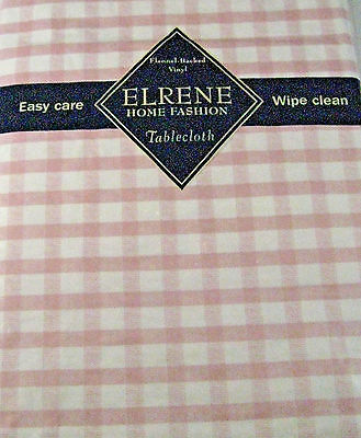 Flannel Back Vinyl Pastel Pink  & White Check Tablecloths Assorted Sizes