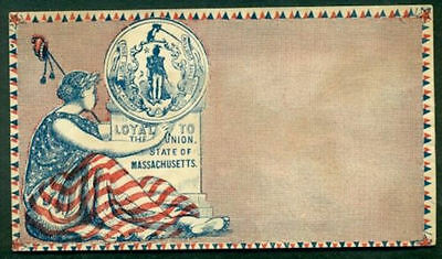Unused American Civil War Patriotic Cover Loyal Massachusetts Cachet *CW3