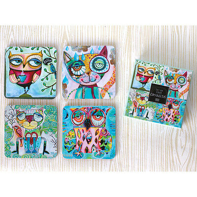 〓 Michelle ALLEN DESIGNS Coaster Set Cat and Owl Wise Critters