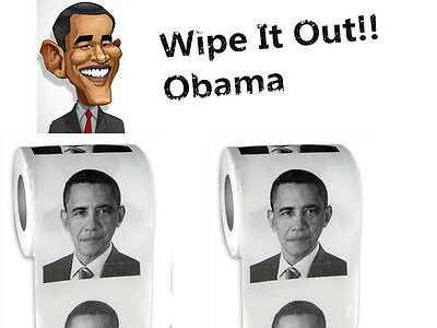 2-Rolls Obama Toilet Paper Roll Party Gift Prank Humor Joke WIPE OUT President