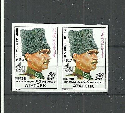 1981-Tunisia-Imperforated pair- The 100th Anniversary of the Birth of Ataturk