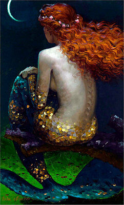 Home Decor HD Print art painting on canvas Fantasy Mermaid art 16x24inch N012
