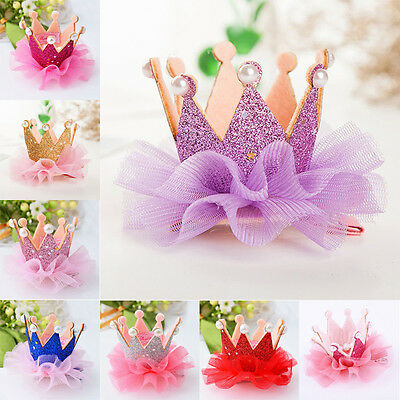 Baby Kids Girls Crown Princess Hair Clip Lace Pearl Shiny Star Hair Accessories