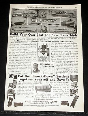 1909 Old Magazine Print Ad, Brooks Boats, Build Your Boat And Save Two-Thirds!
