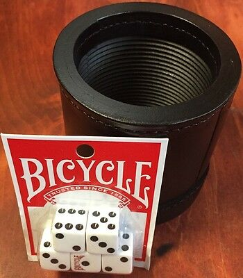 GENUINE LEATHER DICE CUP BOX PROFESSIONAL QUALITY NEW RIBBED Inc. 5 Bicycle Dice