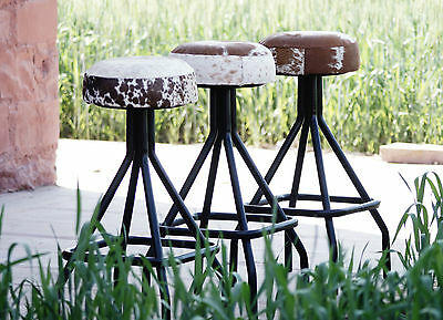 Rosie Cow Hide Stool Black & White