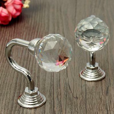 2pcs Vintage Tie Back Round Crystal Chrome Curtain Hook Blinds Tassel Wall Hook