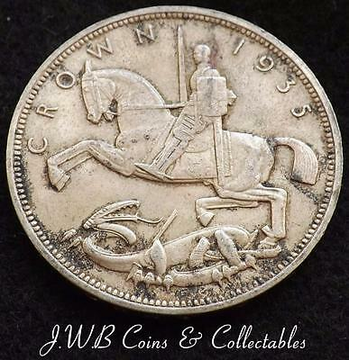 1935 George V .500 Silver Crown Coin - Rocking Horse - Great Britain