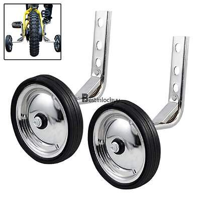 Children Bicycle Training Wheels for 12-20 inch Metal Adjustable Cycling Silver