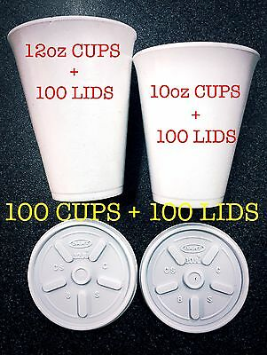 10Oz 12Oz Cheap Foam Polystyrene Cups With Lids 100 Tea Coffee White Offer Value