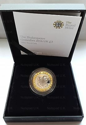 The Shakespeare Comedies 2016 UK £2 Silver Proof Commemorative Two Pound Coin