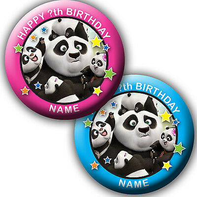 PERSONALISED KUNG FU PANDA BIRTHDAY BADGES/FRIDGE MAGNET/MIRRORS - 58MM or 77MM
