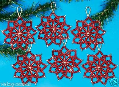 """Design Works Beaded Craft Kit 4""""  ~ RED CHRISTMAS FLOWER Ornaments #6156 Sale"""