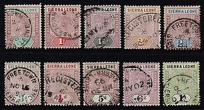 Sierra Leone 1896-97 Queen Victoria set to 1s., used (SG#41/50)