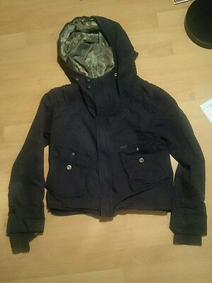 Diesel children's black hooded jacket 100% cows leather application small